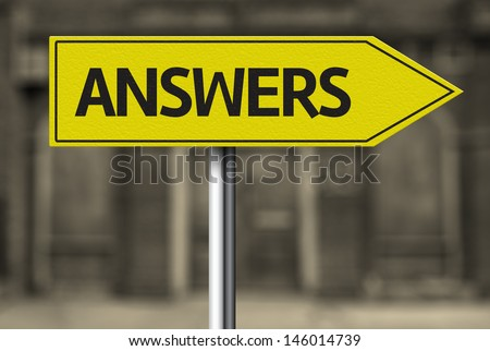 Creative sign with the message - Answers - stock photo