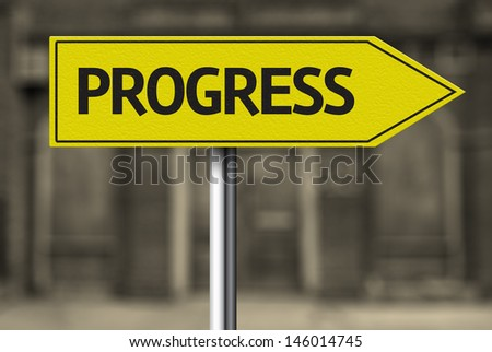 Creative sign with the message - Progress - stock photo