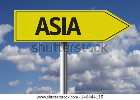 Creative sign with the text - Asia - stock photo