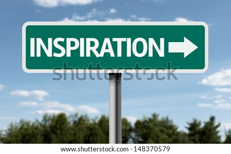 Creative sign with the text - Inspiration  - stock photo