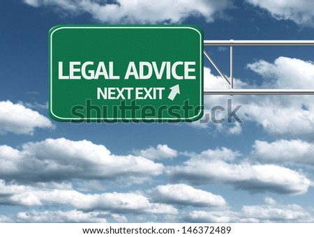 Creative sign with the text - Legal Advice, Next Exit - stock photo