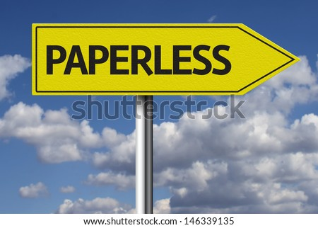 Creative sign with the text - Paperless - stock photo