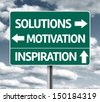 Creative sign with the words - Solutions, Motivation and Inspiration  - stock photo