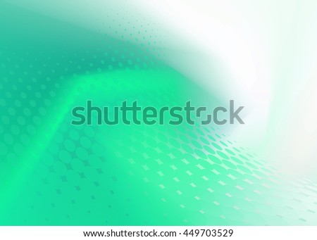Creative Soft Abstract Fresh Green Dot Swirl Design on random same color Background Template perfect for growing healthcare and various other businesses. Plenty of space for text. - stock photo