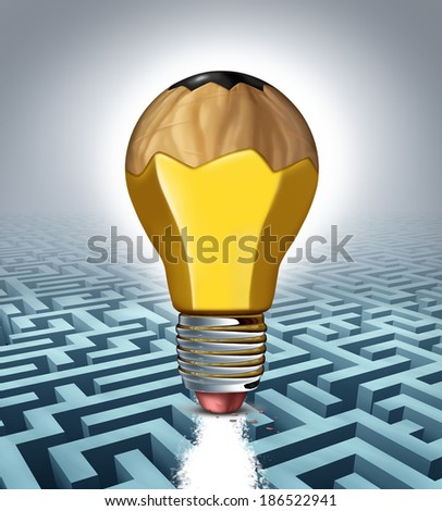 Creative solution business concept as a pencil shaped as a three dimensional lightbulb erasing a clear path on a maze puzzle as a success metaphor for creativity thinking  and innovative strategy. - stock photo
