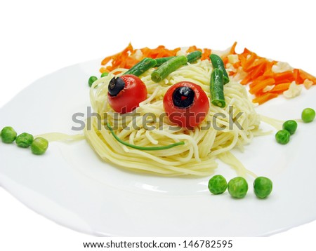 creative spaghetti food garnish with sausage frog shape - stock photo