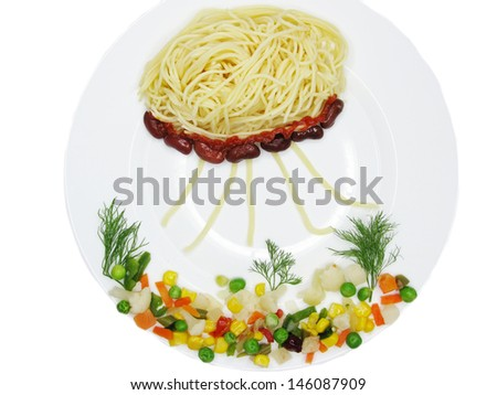 creative spaghetti food garnish with sausage sea world shape - stock photo
