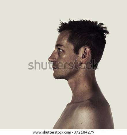 Creative style portrait profile of a man - stock photo