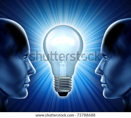 Creative team and idea partnership representing teamwork and cooperation in the world of inventions and business innovations. - stock photo