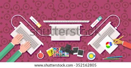 Creative team design flat style. Creative thinking, creative ideas, design team, business and computer, office management, corporate teamwork, technology illustration. Raster version - stock photo