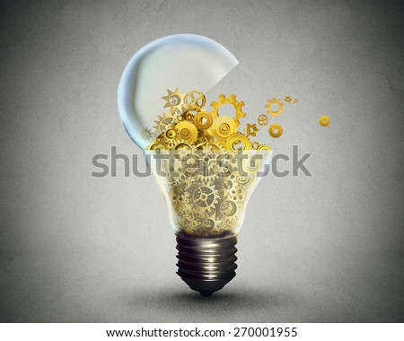 Creative technology and communication concept as an open door light bulb transferring gears and cogs.Business metaphor for downloading or uploading innovation solutions. - stock photo