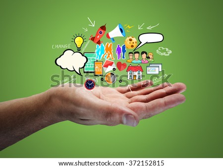 Creative Thinking. A man holding ideas. - stock photo