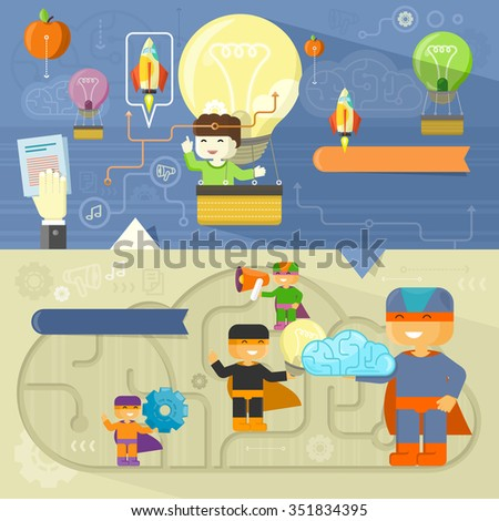 Creative thinking and creative team. Creative concept, creative ideas, creative design, creative background, creative people, design team, idea and business, teamwork illustration. Raster version - stock photo