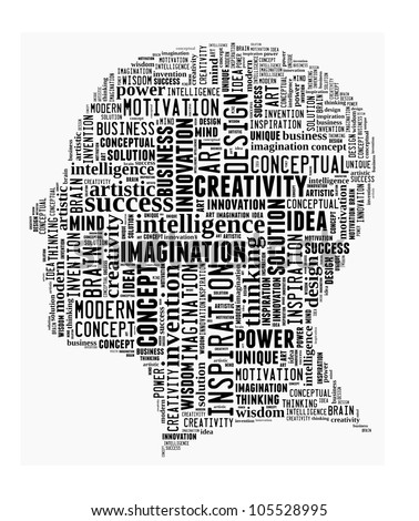 Creative Thinking in word collage - stock photo