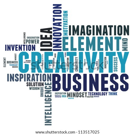 Creative thinking text cloud collage - stock photo