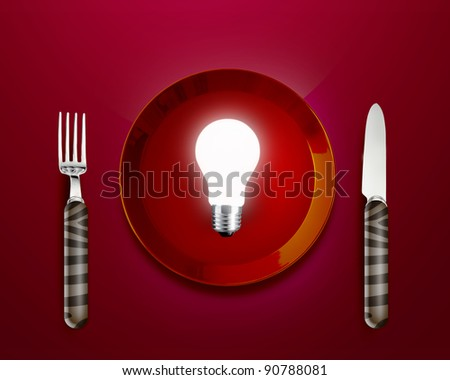 Creative Thinking With Brainstorming, glow lamp in red plate knife and fork. - stock photo