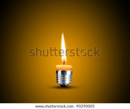 Creative Thinking With Brainstorming, wax candle into lighting bulb. - stock photo