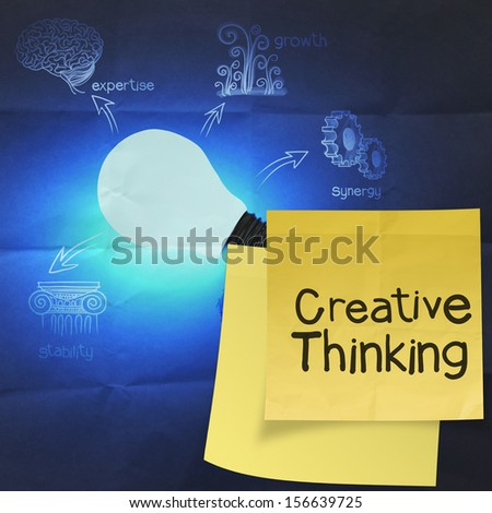 creative thinking  with sticky note on the big idea diagram on crumpled paper as vintage concept - stock photo