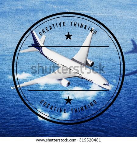Creative Transportation Airplane Aircraft Aviation Concept - stock photo