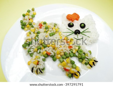 creative vegetable food meal with rice cat form - stock photo
