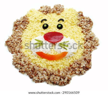 creative vegetable food meal with rice lion form - stock photo