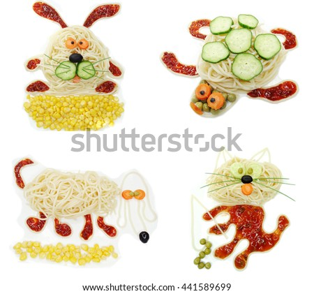 creative vegetable food meal with spaghetti hare form