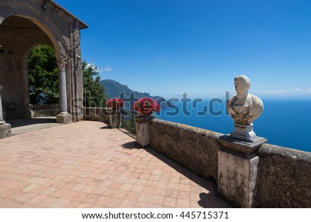 Creative view Villa Chimbrone. Ravello Amalfi Coast, Italy - stock photo