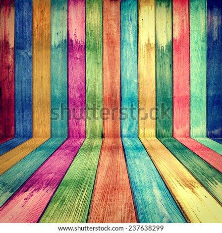 Creative Vintage Wooden Room concept colorful retro - stock photo