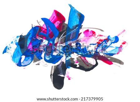 Creative watercolor and mixed media abstract or design element, isolated on paper background