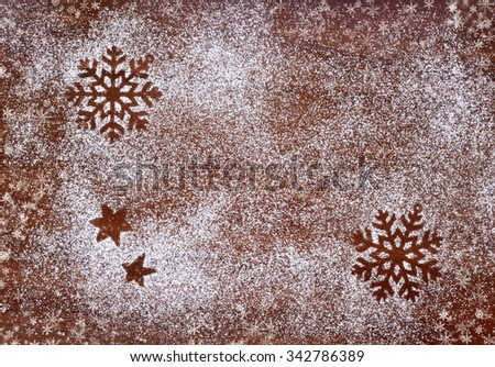 Creative winter time baking background. Christmas holidays concept - stock photo