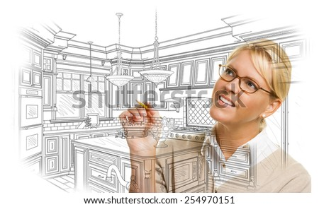 Creative Woman With Pencil Drawing Custom Kitchen Design on White. - stock photo