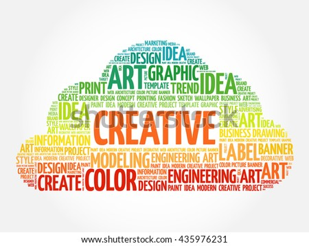 CREATIVE word cloud, creative business concept background - stock photo