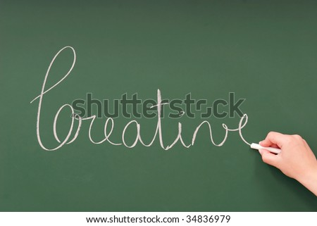 Creative written on a blackboard with chalk