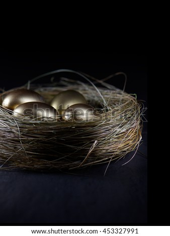 Creatively lit golden eggs in a birds nest against a black background. Concept image for pension investments, retirement or savings. Generous accommodation for copy space. - stock photo