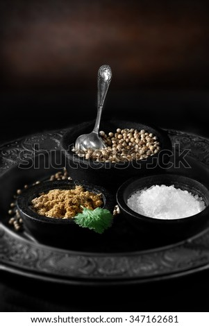Creatively lit Indian fresh coriander seeds, also called cilantro seeds, with powdered curry powder and rock salt against a rustic background with selective focus. Concept image for Indian cooking. - stock photo
