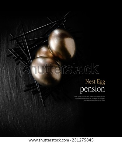 Creatively lit stylish concept image for pension nest egg or investment. Golden eggs placed in a starkly constructed birds nest against black slate. Copy space. - stock photo