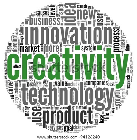 Creativity and innovation concept related words in tag cloud on white