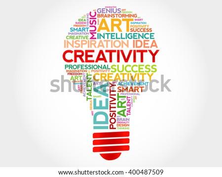 Creativity bulb word cloud concept - stock photo