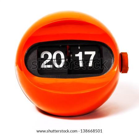 Creativity concept of calendar 2017 from vintage clock - stock photo
