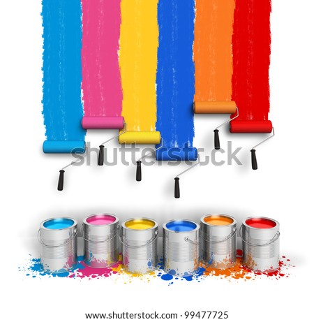 Creativity concept: set of color roller brushes with trails of paint on the wall and metal cans with oil paint isolated on white background - stock photo