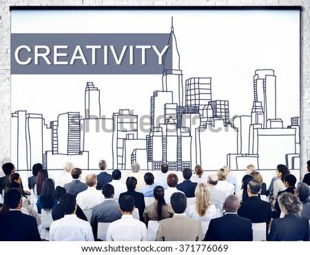 Creativity Design Drawing Ideas Cityscape Concept - stock photo