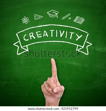 Creativity. Education concept, hand drawn doodles on green chalkboard. A student's finger pointing up, symbolize the encouragement of having own self opinion or idea - stock photo