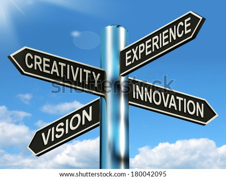 Creativity Experience Innovation Vision Signpost Meaning Business Development - stock photo