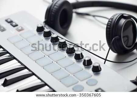 creativity. headphones and beat makers/producer kit. production of electronic music.soft focus   - stock photo
