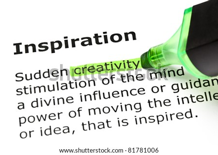 Creativity highlighted in green, under the heading Inspiration. - stock photo