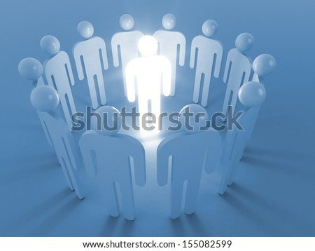 Creativity idea metaphor illustration. One shining man stand in round of ordinary people - stock photo