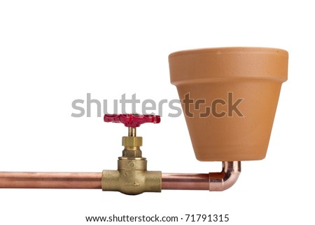 Creativity on the connection of water for irrigation. Water System been placed to ceramic grorshku for planting. - stock photo