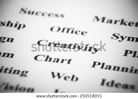 Creativity with some other related words on paper. - stock photo