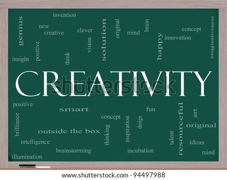 Creativity Word Cloud Concept on a Chalkboard with great terms such as happy, innovation, fun, incubation, ideas and more. - stock photo