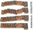 creativity - word in vintage wooden letterpress printing blocks, isolated on white, four layouts - stock photo